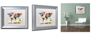 """Trademark Global Michael Tompsett 'Urban Watercolor World Map' Matted Framed Art - 11"""" x 14"""""""