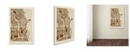 "Trademark Global Michael Tompsett 'Chicago City Street Map' Canvas Art - 12"" x 19"""