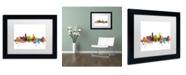 "Trademark Global Michael Tompsett 'Miami Florida Skyline' Matted Framed Art - 11"" x 14"""