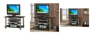Benzara Metal And Glass TV Stand with 4 Shelves