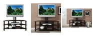 Benzara Metal And Glass TV Stand with Adjustable Height And 3 Shelves