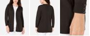Karen Scott Open-Front Button-Cuffed Cardigan, Created for Macy's