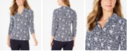 Charter Club Printed 3/4-Sleeve Polo Top, Created for Macy's