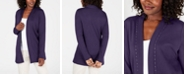 Karen Scott Cotton Studded Open-Front Cardigan, Created for Macy's
