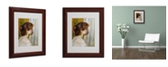 """Trademark Global Pierre Auguste Renoir 'Head of a Young Woman' Matted Framed Art - 14"""" x 11"""""""