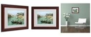 """Trademark Global Canaletto 'Arno River and Ponte Vecchio' Matted Framed Art - 14"""" x 11"""""""