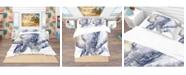 Design Art Designart 'Baby Elephant Blue Watercolor' Tropical Duvet Cover Set - Twin