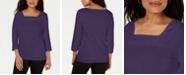 Karen Scott Crochet Square-Neck Top, Created for Macy's