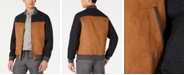 Tasso Elba Men's Colorblocked Faux-Leather Mix-Media Bomber Jacket, Created for Macy's