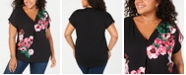 INC International Concepts I.N.C. Plus Size Mixed-Media Top, Created for Macy's