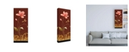 "Trademark Global Pablo Esteban Pink Flowers on Red Canvas Art - 19.5"" x 26"""