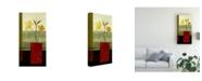 "Trademark Global Pablo Esteban Red Ornate Vase Yellow 1 Canvas Art - 19.5"" x 26"""