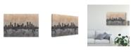 "Trademark Global Michael Tompsett Denver Colorado Skyline Grey Canvas Art - 37"" x 49"""