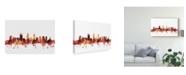 "Trademark Global Michael Tompsett Perth Australia Skyline Red Canvas Art - 15"" x 20"""