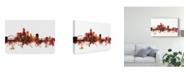 "Trademark Global Michael Tompsett Des Moines Iowa Skyline Red Canvas Art - 20"" x 25"""