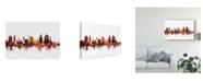 "Trademark Global Michael Tompsett Durham North Carolina Skyline Red Canvas Art - 20"" x 25"""