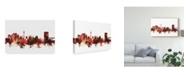 "Trademark Global Michael Tompsett Tehran Iran Skyline Red Canvas Art - 20"" x 25"""