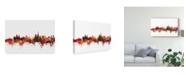 "Trademark Global Michael Tompsett Lausanne Switzerland Skyline Red Canvas Art - 15"" x 20"""