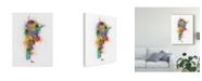 "Trademark Global Michael Tompsett Argentina Paint Splashes Map Canvas Art - 20"" x 25"""