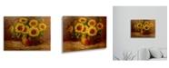 "Trademark Global Masters Fine Art Sunflowers Still Life Floating Brushed Aluminum Art - 22"" x 25"""