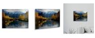 "Trademark Global Pierre Leclerc Autumn River Floating Brushed Aluminum Art - 22"" x 25"""