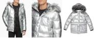 Calvin Klein Men's Metallic Puffer Parka With Faux-Fur Trim