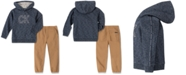 Calvin Klein Little Boys 2-Pc. Marled French Terry Logo Hoodie & Twill Jogger Pants Set