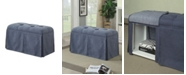 Benzara Rectangular Button Tufted Fabric Upholstered Bench With Storage
