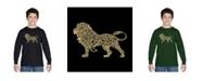 LA Pop Art Boy's Word Art Long Sleeve T-Shirt - Lion