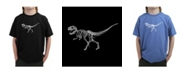 LA Pop Art Boy's Word Art T-Shirt - Dinosaur T-Rex Skeleton