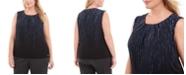 Calvin Klein Plus Size Printed Pleated-Neck Top