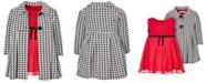 Bonnie Baby Baby Girls 2-Pc. Houndstooth Coat & Knit Mesh Dress Set