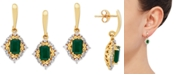 Macy's Emerald (1-1/5 ct.-t.w) & Diamond (1/4 ct. t.w) Drop Earrings in 14k Gold