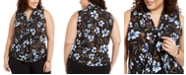 Nine West Plus Size Sleeveless Floral Bow-Neck Top
