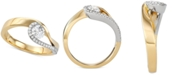 Macy's Diamond Two-Tone Swirl Ring (1/2 ct. t.w.) in 14k Gold & White Gold