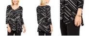 JM Collection V-Neck Handkerchief-Hem Top, Created For Macy's