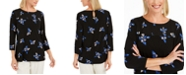 Charter Club Petite Floral Pintucked Top, Created For Macy's