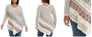 Belldini Plus Size Point-Hem Striped Sweater