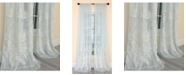 Manor Luxe Vivid Ocean Coral Embroidered Semi Sheer Rod Pocket Curtain Collection