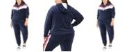 Tommy Hilfiger Plus Size Chevron Velour Hooded Sweatshirt