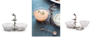 """Vagabond House Hand-Blown Glass 2-Bowls Condiment Server with Solid Pewter """"Ocean Coral"""" Frame and Accents"""