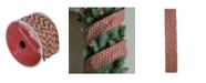 """Northlight Pack of 12 Dazzling Red and White Chevron Wired Christmas Craft Ribbon Spools - 2.5"""" x 120 Yards Total"""