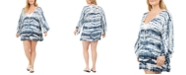 Raviya Plus Size Tie-Dyed Batwing-Sleeve Cover-Up Dress