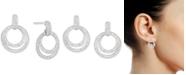 Macy's Cubic Zirconia Double Hoop Drop Earrings in Sterling Silver