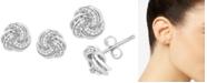 Macy's Diamond Love Knot Stud Earrings (1/10 ct. t.w.) in Sterling Silver