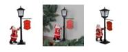 Northlight Mini Snowing Street Lamp and Santa Claus Christmas Table Top Display