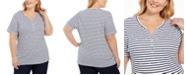 Karen Scott Plus Size Printed Short-Sleeve Henley Top, Created For Macy's