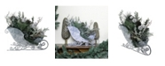 """Northlight 9.5"""" Frosted Christmas Pinecone Bell and Foliage Filled Tabletop Sleigh"""