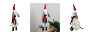"Northlight 21.5"" White and Gray Sitting Greyhound Dog in Santa Hat Christmas Decoration"