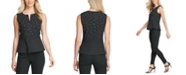 DKNY Cotton Embroidered Sleeveless Peplum Top